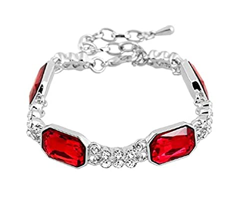 Jay Jewellery - LUXURY FACETED RED RECTANGLE CLEAR DIAMANTI RHINESTONE CRYSTAL BRACELET