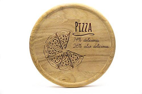 Pizzateller 32cm aus Holz (Gummibaumholz) - Pizza Motiv - Delicious Pizza | Gravur | Geschenk | Pizzateller