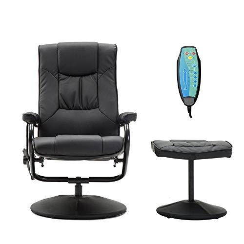Elektrisch Verstellbare Leder (Eduton PU-Leder Lehnstuhl mit Fußbank elektrisch verstellbaren Massage-Stuhl)