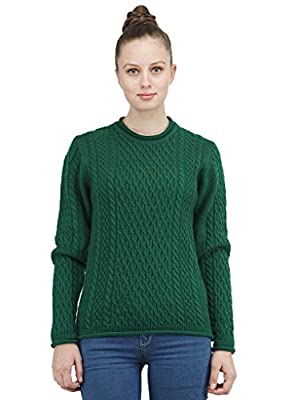 Kalt Women's Round Neck Full Sleeves Cable Acrylic Sweater