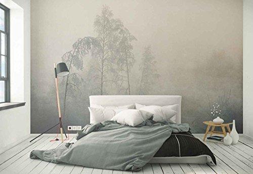 Vlies Fototapete Fotomural - Wandbild - Tapete - Wald Bäume Frost Nebel - Thema Wald und Bäume - XL - 368cm x 254cm (BxH) - 4 Teilig - Gedrückt auf 130gsm Vlies - 1X-1340046V8