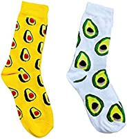 Özel Tasarım Avokado Meyve Desenli 2'li Kadın Çorabı Seti Happy Socks çorap çorap desenli çorap babet çora