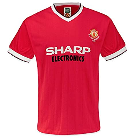 Manchester United FC Official Gift Mens 1983 FA Cup Retro Kit Shirt Red Large