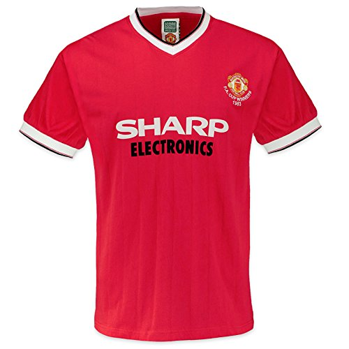 Manchester United FC Official Gift Mens 1983 FA Cup Retro Kit Shirt
