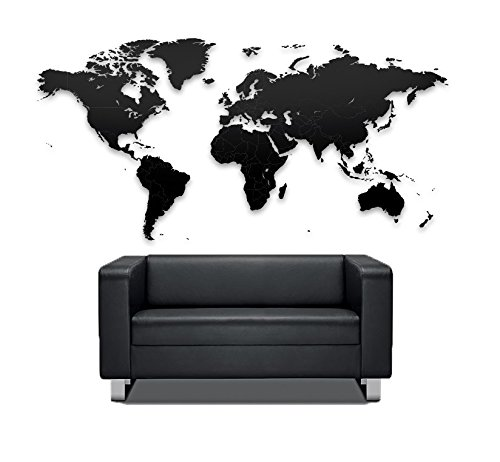 MiMi Innovations - Puzzle de madera de lujo World Map True Puzzle 150 x 90 cm - Negro