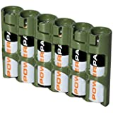 """Storacell by Powerpax Slim Line """"AAA"""" Battery Caddy, Military Green - Holds 6 """"AAA"""" Batteries by Storacell"""