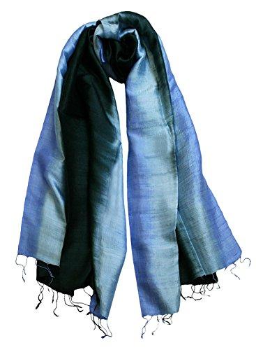 Exklusiv Seidenschal Pure Silk ca. 180 cm x 75 cm dreifarbig, Farbe Schals:black/desk blue/fresh (21) -