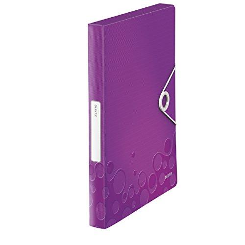 Leitz Boîte de Classement A4, Capacité 250 Feuilles, Dos 3 cm, Fermeture Elastique, Violet Métallisé, WOW, 46290062