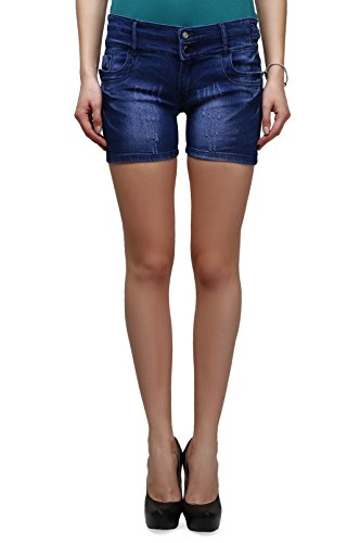 Miss Wow High Waist Denim Shorts for Women (BLU1057_BLUE_32)