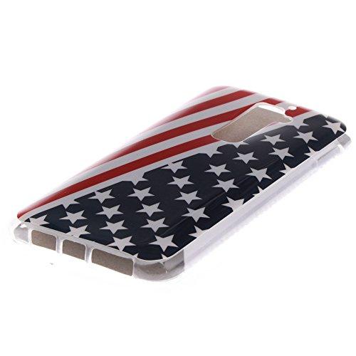 LG G2 hülle MCHSHOP Ultra Slim Skin Gel TPU hülle weiche Silicone Silikon Schutzhülle Case für LG G2 - 1 Kostenlose Stylus (Blumen Tribal Aztec (Flower Tribal Aztec)) Flagge der Vereinigten Staaten (Flag of the United States)