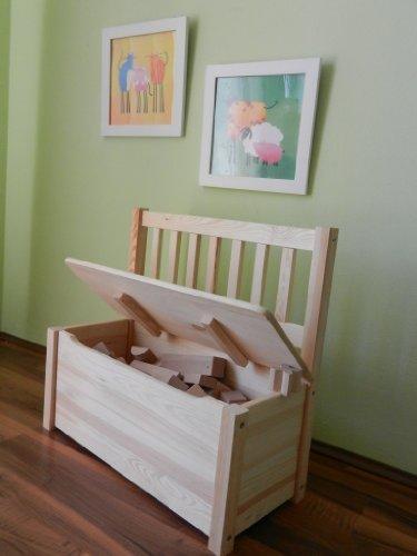 Best of JAM® Kindersitzbank mit Stauraum mit praktischer Deckelbremse MASSIVHOLZ UNBEHANDELT -