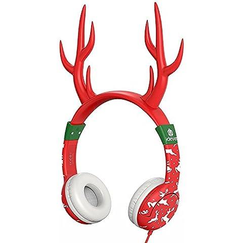 Las Auriculares para niños,iClever Las auriculares por cable,Con el color de oreja de gato rojo,Un regalo para la navidad--- Nivel