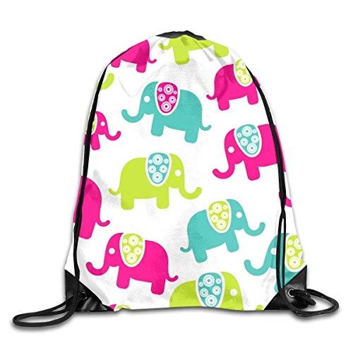 HLKPE Cute Colorful Elefants Patterns Drawstring Bag for Traveling Or Shopping Casual...