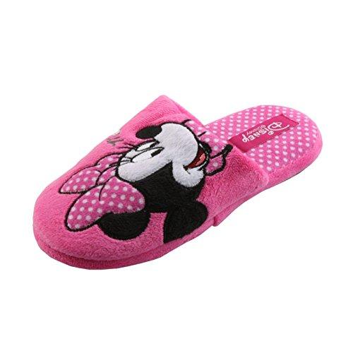 Tierhausschuhe Hausschuhe Disney Minnie Maus Pantoffel Minny Maus weich Schlappen hochwertig Original Damen Mädchen, TH-Minnie, Modell Slipper pink, Größe 35/36