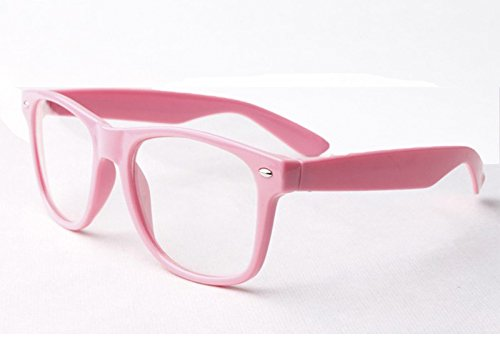 Rosa Clear Lens Wayfarer Style Nerd Geek Retro Hipster Brille Fancy Rave Party Kleid