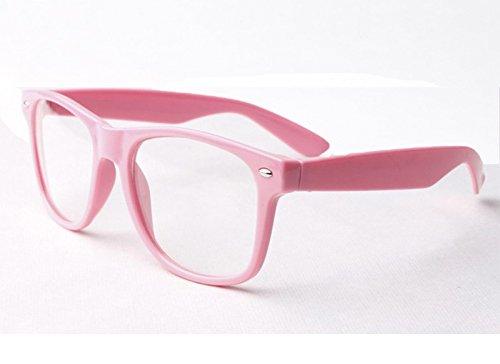 Rosa Clear Lens Wayfarer Style Nerd Geek Retro Hipster Brille Fancy Rave Party Kleid