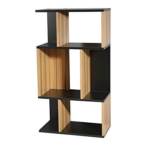 Melko Standregal Fernsehschrank Holz in braun/schwarz Holz modern Bücherregal