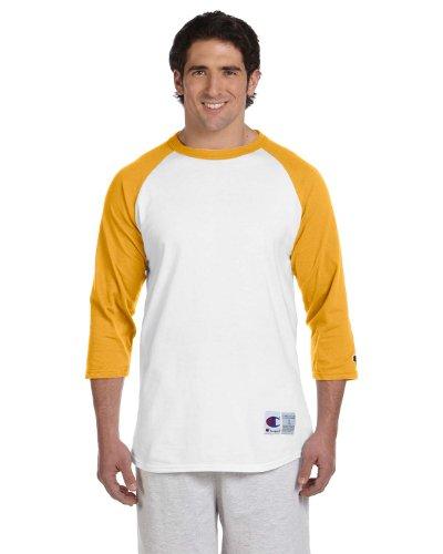 Champion 5.2 OZ. Raglan Baseball T-Shirt White/C Gold