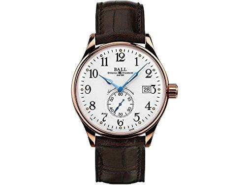 Montre Ball Trainmaster Standard Time, Blanc, Bracelet de crocodile, COSC