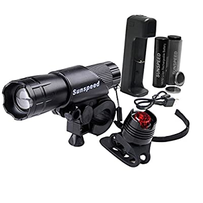 Sunspeed Waterproof Rechargeable LED Bike Light Set - LED Bright Headlight for Front and Tail Safety Light for Back of Bikes, Easy to Mount, No Tools Needed, For Road, Racing & Mountain Bicycles - 18650 Batteries Included - 100% No-hassle Replacement Guar