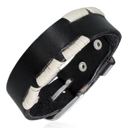 savoir Londres - Bracelet Wrap blanc Corde Boucle de Ceinture en cuir véritable noir