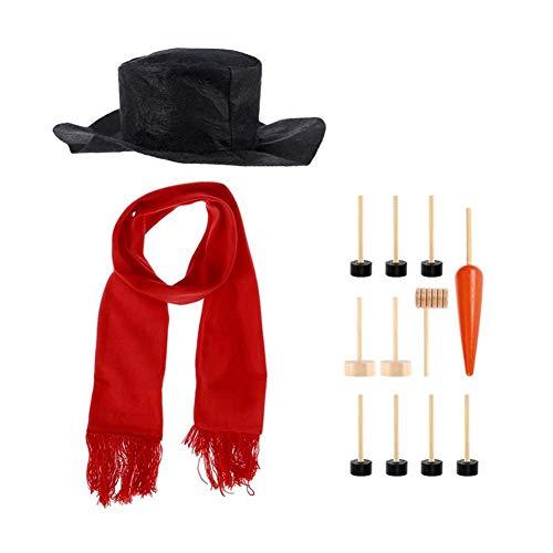 Ndier Schneemann-Verzierung Dressing Kit Winterurlaub Spielzeug für draußen einschließlich Hut Schale Rohr Augen Mund Stupsnase Zubehör 1PACK (Schneemann Kostüm Kit)