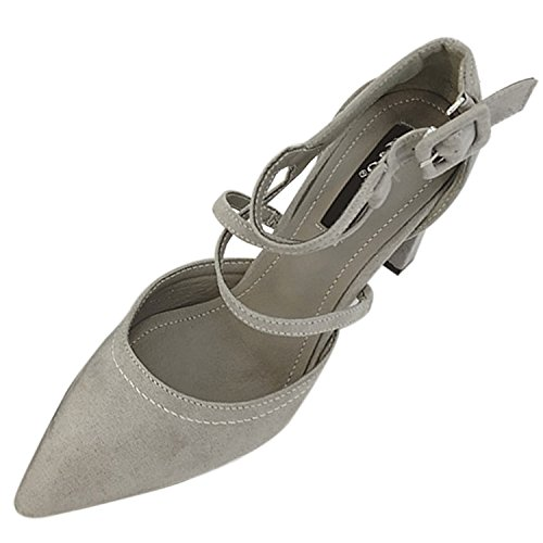 Oasap Women's Pointed Toe High Heels Ankle Strap Pumps Grey