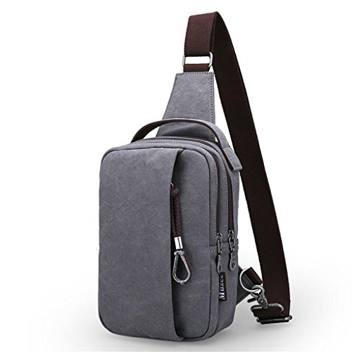 DELLT-Männer Koreanische Welle Paket Kurierbeutel beiläufig Leinwand Umhängetasche Mann Tasche Rucksack Taschen grau
