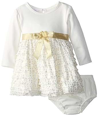 Bonnie Baby Baby Girls' Eyelash Tiered Dress, Gold, 24 Months