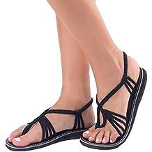 LuckyGirls Sandalias Mujer Verano Cruzado Crochet Chancleta Casual Vacaciones Zapatillas Moda Chanclas Playa Zapatos de Cordones Planos Romano Estilo(34-42)