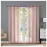 Singinglory Voile Ösen Gardinenschals 140x245cm 2er Set, Uni-Farbe Transparente Vorhänge - Rosa