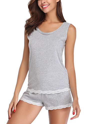 Aibrou Damen Schlafanzug Kurz Sommer Pyjama Baumwolle Spitze Nachtwäsche Sleepwear mit Ärmlos Tanktop und Shorts GrauS