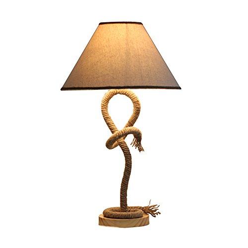 Lying Retro Seil Schreibtisch Lampe, Schlafzimmer Nachttisch Lampe Bar Lampe Kaffee Shop Schreibtisch Lampe Retro Industrie Stoff Kunst Pure Handarbeit Massivholz Basis Tischlampe 35 * 59CM finden ( größe : 35*59CM ) (Seil-lampen-basis)