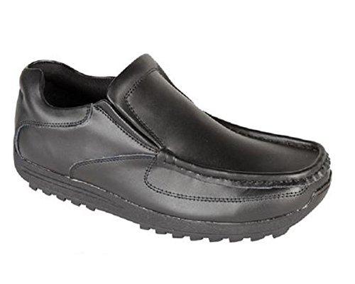 Route 21 Enfants Garçons Rentrée Scolaire RECOUVERT Chaussures Cuir Noir à Enfiler Chaussures Tailles 1-6
