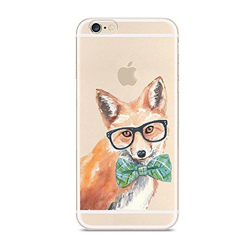 AIsoar iPhone 6Plus 6S Plus Case, Crystal Clear Slim Soft TPU Schutzhülle Rutschfeste Flexible stoßfest Bumper Cute Animal Cover Schutz für Apple iPhone 6Plus/6S Plus 14cm Fuchs Cute Apple