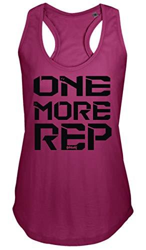 "GO HEAVY Damen Racerback Yoga Sporttop | Ã""rmelloses Gym Trainings Fitness Tank Top | Aufdruck One More Rep | Pink M"