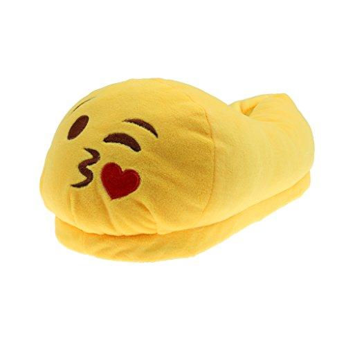 Phenovo Cute Kiss Emoji Pantuflas Cozy Plush Slippers Anti-Slip Home Shoes Women/26 cm