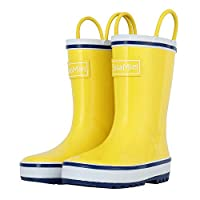 CasaMiel Kid&Toddler Rain Boots for Boys and Girls, Children's Handcrafted Rubber Boots, Lively Yellow