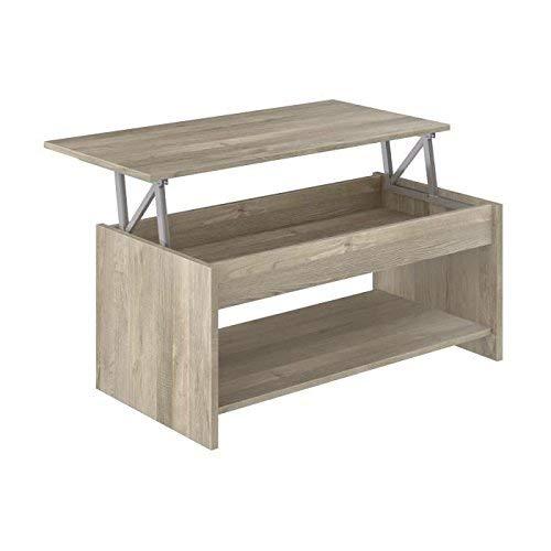 Movian - Table basse avec plateau relevable et petite étagère Aggol Modern, 50 x 100 x 44, Effet Chêne