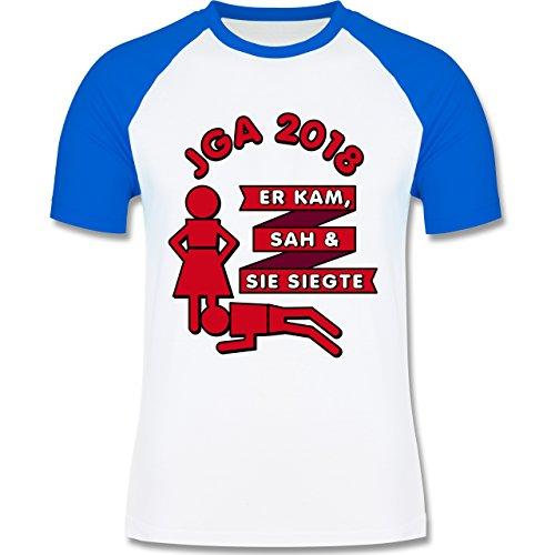 Shirtracer JGA Junggesellenabschied - Er Kam, Sah, Sie siegte JGA 2018 - Herren Baseball Shirt Weiß/Royalblau