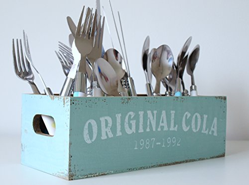 Cutlery Holder - Retro Style Pastel Blue/Turquoise Wooden Utensil Holder - Knives, Forks & Spoons. Cutlery Stand Utensil Holder Box