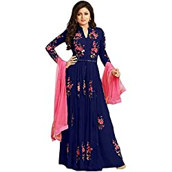 Women's Clothing Semi-Stiched New Arrival Fancy Anarkali Banglori Silk and Soft Net Salwar Suit With Duppata