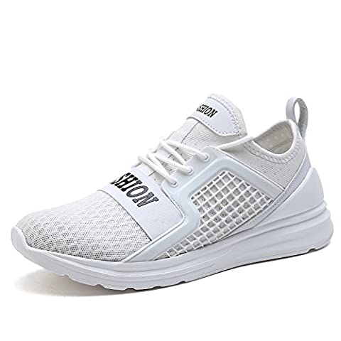 ASHION Herren Running Shoe Laufschuhe Atmungsaktive Mesh-Sportschuhe (41 EU, Weiß)
