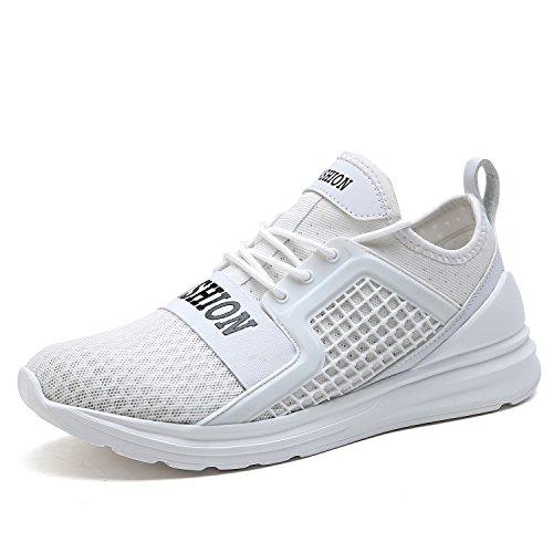 VITIKE Ashion Herren Ausbildung Schuhe Mesh Atmungsaktiv Turnschuhe Fitness Leicht Sport Laufen Schuhe(EU40-Weiß) (Schuhe Laufen Barfuß)