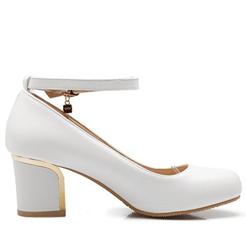TAOFFEN Femmes Escarpins Mode Bloc Talons Moyen Sangle De Cheville Soiree Chaussures De Boucle Blanc