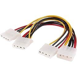 ALLSHOPSTOCK (#49) 4 Pin IDE 1 männlich zu 3 Buchse Splitter Schalltknopf Kabel für 3.5 HDD DVD, Länge: 20cm