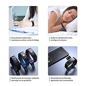 Pulsera de Actividad Inteligente Pantalla a Color Impermeable IP67 Pulsómetro con Monitor de Ritmo Cardíaco Monitor de Actividad Podómetro Monitor de Calorías y Sueño Fitness Tracker