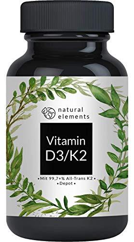 Vitamin D3 + K2 Depot - 180 Tabletten - Premium: 99,7+{e918d4052c337018ae8a5513ec6ded4c7b188015ce2aee1dfdb86cabe815c3df} All Trans MK7 (K2VITAL® von Kappa) + 5.000 IE Vitamin D3 - Hochdosiert und hergestellt in Deutschland