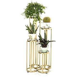 BAIJJ Porte-bougeoire Moderne einfacher Boden-Art Goldener mehrschichtiger Eisen-Blumen-Gestell-Balkon-Wohnzimmer-Blumen-Stand