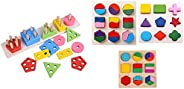 Wooden Intellectual Geometric Shape Matching Five Column Blocks Educational & Learning Toys & Grizzly